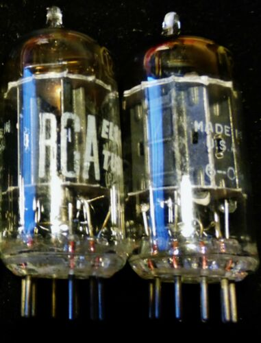RCA 12au7 Black plate matched pair top tilted D getter 1955