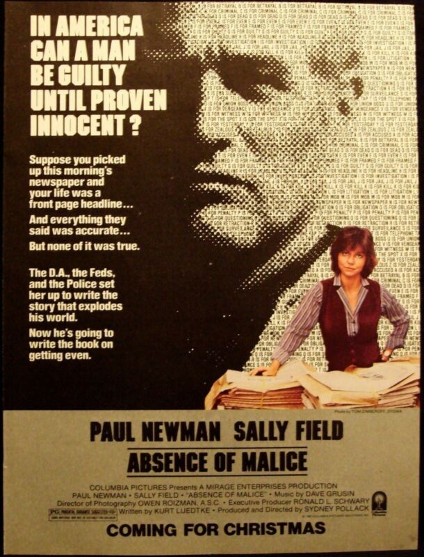 ABSENCE OF MALICE - PAUL NEWMAN - SALLY FIELD - VINTAGE 1981 MOVIE AD