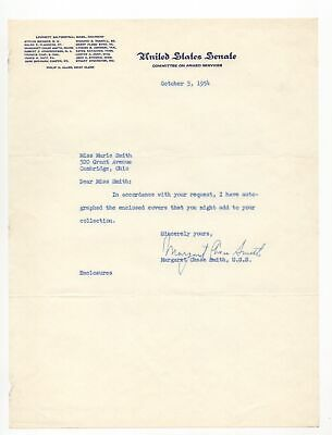 Margaret Chase Smith - 1st Woman in Congress - Autographed Letter (TLS), 1954