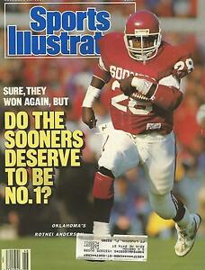 OKLAHOMA SOONERS ROTNEI ANDERSON 1987 SPORTS ILLUSTRATED BARRY SWITZER 11-1