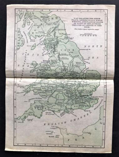 1894 Literary Map of English Famous Authors England ~ Original Authentic Rare
