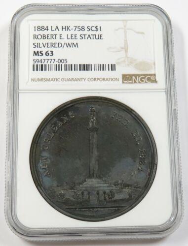 1884 NGC MS63 New Orleans LA Robert E Lee Statue Souvenir US Item #28384A