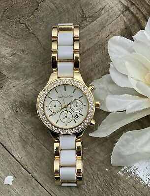 Michael Kors Parker 38mm Gold white Watch for Women MK watch  Ladies Brushed Metal