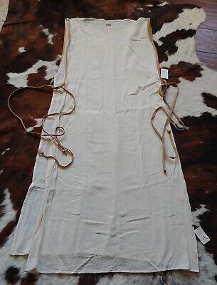 New w/Tags CARAVANA TULUM Long Beige Tan Gauze Linen w/Leather Ties Poncho Dress