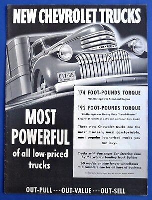 1941 Original Vintage Print Ad CHEVROLET GM Trucks Most Powerful