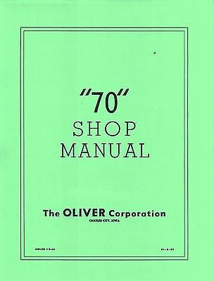 Oliver 70 Row Crop Standard Tractor Shop Dealer Service Manual