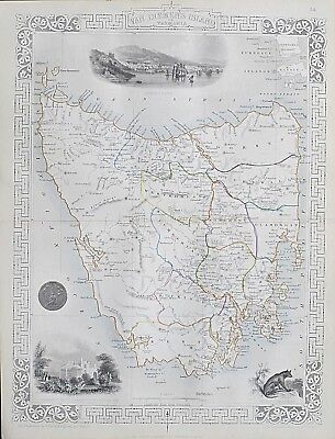 c1854 TAZMANIA AUSTRALIA VAN DIEMEN'S ISLAND Genuine Antique Map by Rapkin