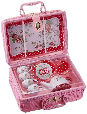 Delton Products Children's Tin Tea Set With Roses & Polka Do