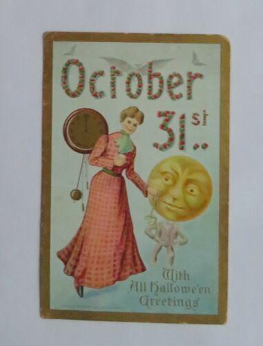VTG Halloween Postcard Gibson Girl, Moon Man & Clock October 31  Germany