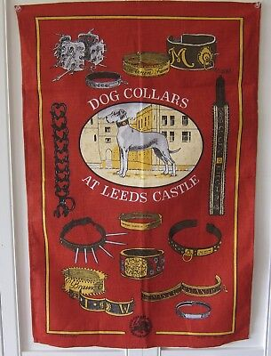 DOG COLLARS AT LEED'S CASTLE, IRISH LINEN TEA or KITCHEN TOWEL, NEW