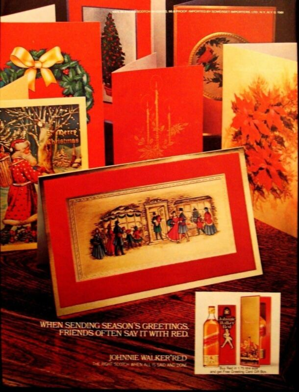 JOHNNIE WALKER RED - VINTAGE 1981 SCOTCH WHISKY CHRISTMAS AD - ADVERTISING