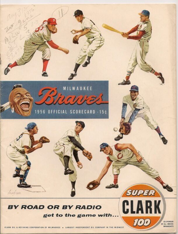 1956 Milwaukee Braves-Cardinals Program Braves Sweep Pair Stay in First!!