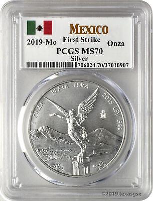 2019-Mo Onza Mexico Silver Libertad .999 Silver Coin PCGS MS70 FS - Flag Label