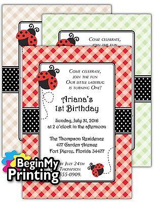 24/36 Ladybug Baby Shower / 1st Birthday Invitations + Envelopes CUSTOM - 1st Birthday Custom Invitations