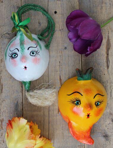 Pair Vegetable Masks Carrot Onion Handmade Hand Painted Guerrero Mexico Folk Art