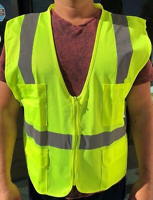 Small Yellow Ansi Class 2  Reflective Tape High Visibility Safety Vest