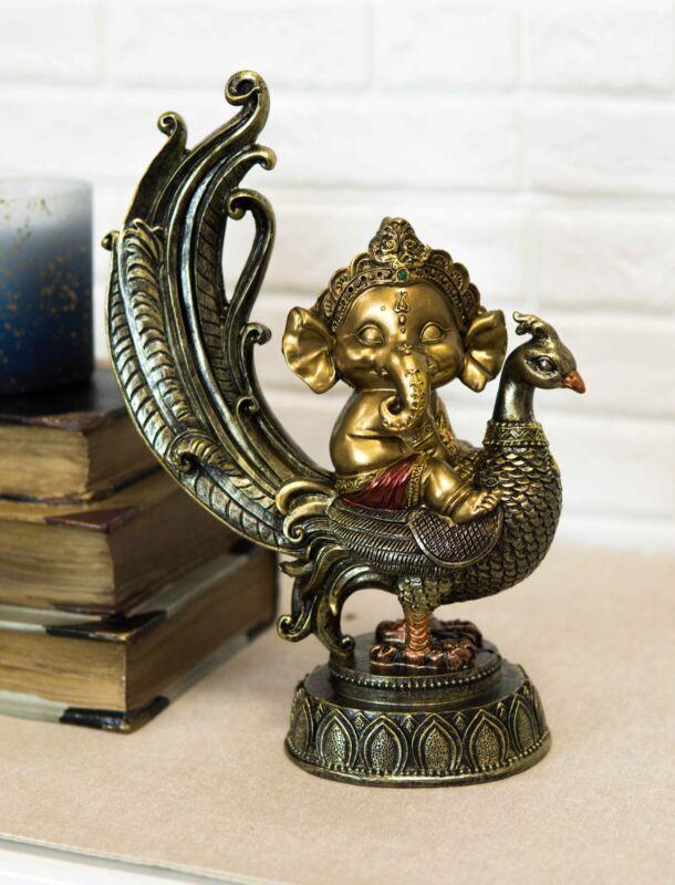 Hindu Supreme God Of Success And Arts Baby Ganesha Sitting On Peacock Statue
