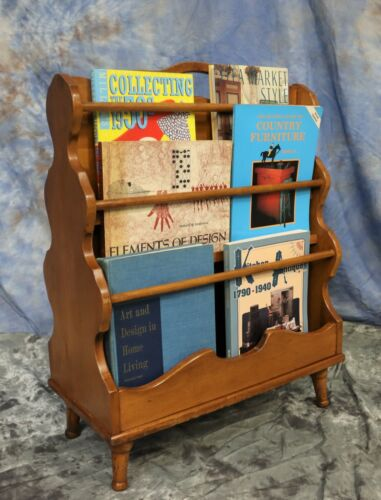 Vintage Mid Century Wooden Book Magazine Rack Display Floor Stand with 2 Sides
