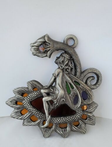 Pewter 3-D Sitting Fairy with Stained Glass by  Kara
