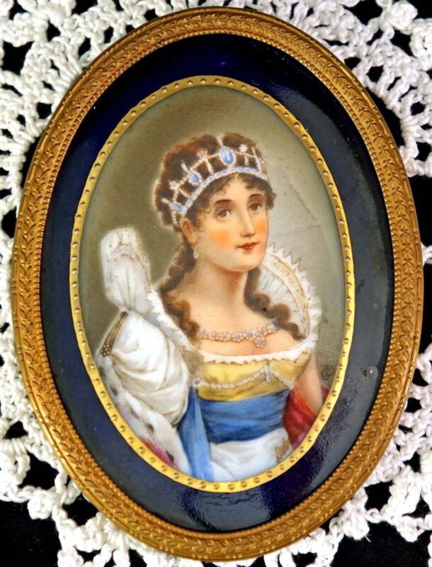 Lovely Old Oval Porcelain Portrait Plaque Josephine wife of Napoleon KPM Quality
