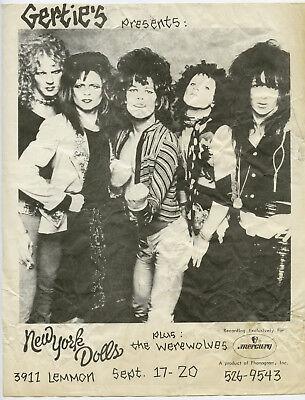 Super rare NEW YORK DOLLS Original 1973 DALLAS TEXAS Concert Handbill / Flyer