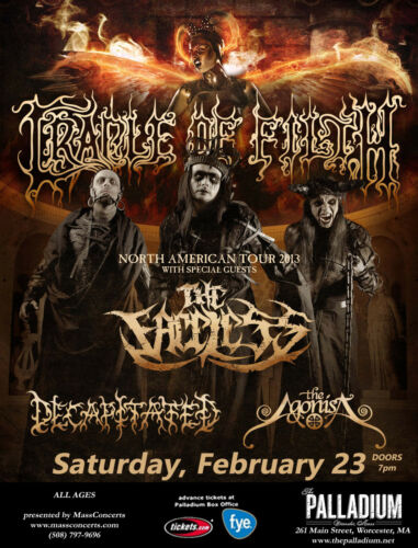 CRADLE OF FILTH / FACELESS 2013 WORCESTER, MA CONCERT TOUR POSTER- Extreme Metal