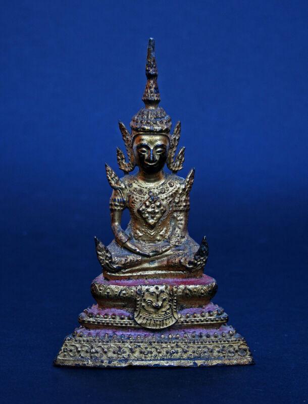 ANTIQUE THAI RATTANAKOSIN GILT MEDITATION  BRONZE BUDDHA 1800
