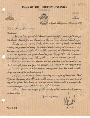 1952 Bank of the Philippines Manila List of Facsimile Signatures