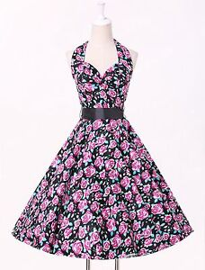 UK CHEAP Vintage Dress 50s 60 Party Polka Dot Rockabilly Swing Pinup Retro Dress