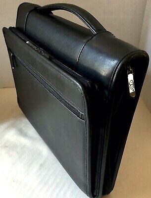 Portfolio Black Padded Front Pockets 3 Ring Binder Zip Around Handle Underarm