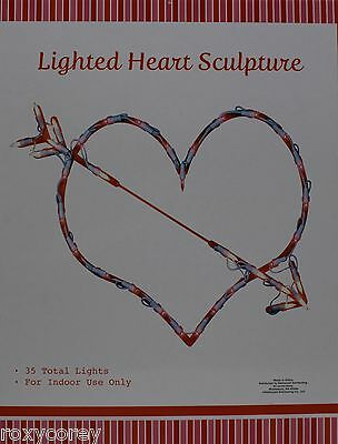 Valentine Ornaments (Valentine Day Lighted Heart Silhouette Window Ornament 35 Total Lights)