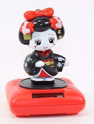 Solar Bobblehead Toy Figure, Maiko - Standing Black Geisha