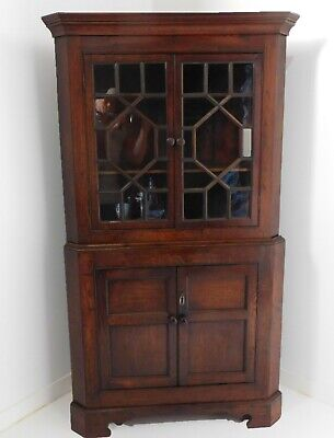 Georgian Oak Corner Cabinet - Farmhouse Bookcase Circa 1820