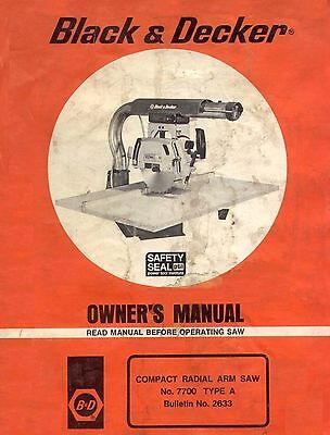 Black and Decker #7700 Compact Radial Arm Saw Type A Owners Manual * CDROM * (Black And Decker Radial Arm Saw Manual)