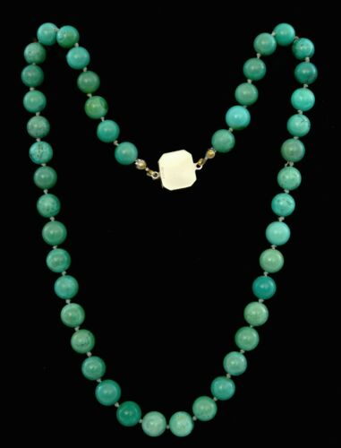 """Chinese Turquoise Carved Carving Bead Necklace Silver Knot Marked """"Sterling"""""""