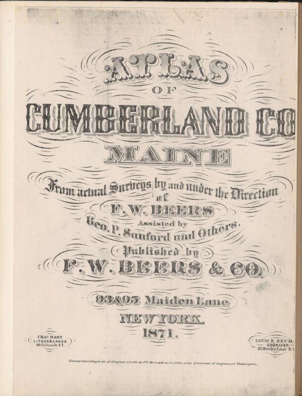 1871 Atlas CUMBERLAND COUNTY plat map MAINE old GENEALOGY LAND OWNERSHIP DVD P51