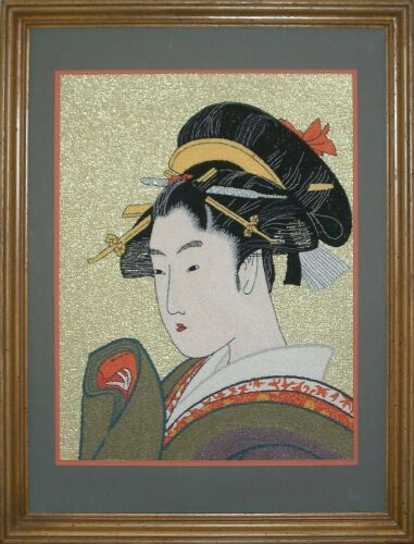 Framed Bunka Embroidery of Famous Japanese Geisha Woodblock Print - Circa 80