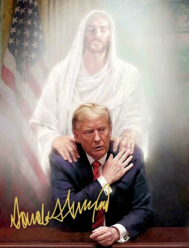 PRESIDENT DONALD TRUMP PRAYING WITH JESUS SIGNED AUTOGRAPH 8.5 X11 PHOTO REPRINT