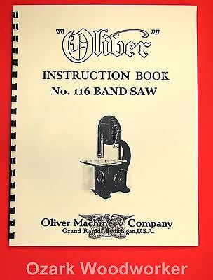 Oliver No. 116 36 Band Saw Operating Instructions And Parts Manual 1035