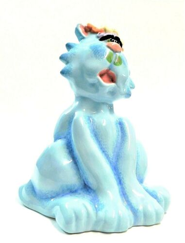 Debby Carman Faux Paws Blue Cat Kitty Ceramic Bank Signed Carman McDuffie