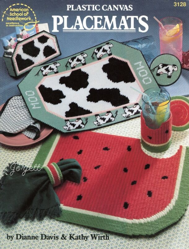 Placemats & Coasters, Rose Floral Cow & More plastic canvas pattern book NEW