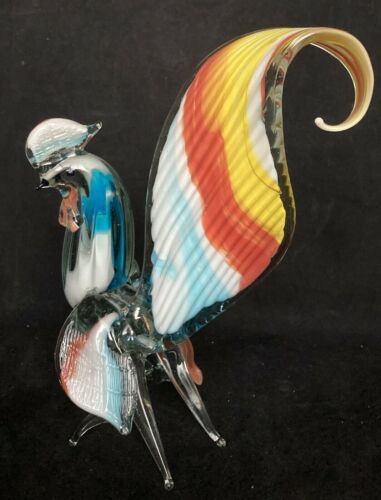 """Murano Art Glass Hand Blown 9 1/2"""" Multi-Color Rooster from Italy"""