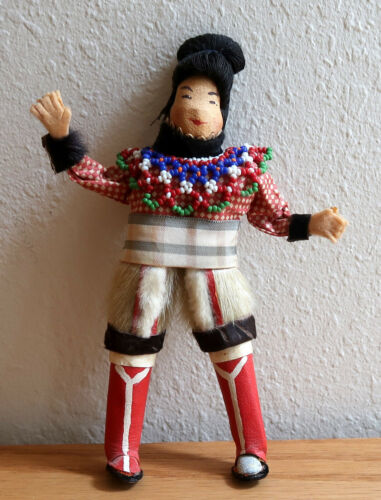 Vintage handmade Inuit doll from Greenland, circa 1960, leather, fabric, fur and