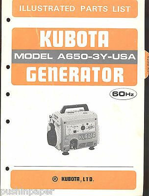 Kubota Generator Illustrated Parts List Manual Model A650-3y-us 60hz 1985