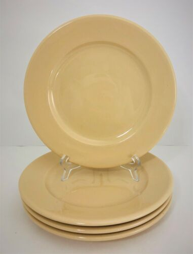 "4 Buffalo China Tan 9"" Dinner Plates Restaurant Ware Vintage Beige Luncheon"