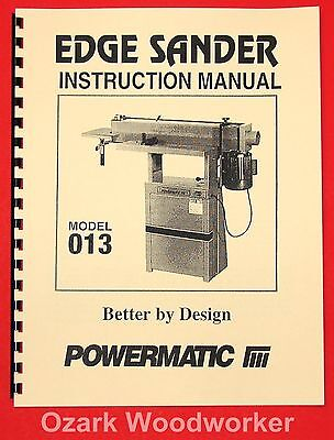 Powermatic Model 013 Edge Sander Instructions Parts Manuals 1004