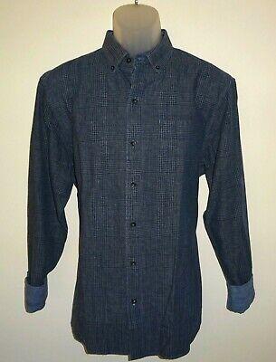 Tommy Bahama Mens L/S Shirt * Medium Almeria Plaid Blue Cotton Linen Blend NWT image