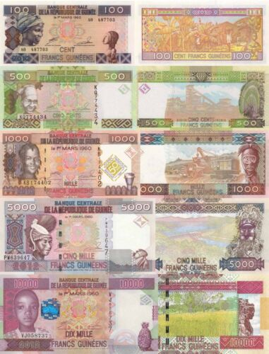 Guinea 5 Note Set: 100 to 0000 Francs (2012) - p-35b,p-39b,p-43,p-41b,p-46 UNC