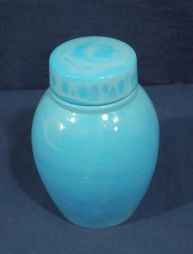 Vtg Antique Tea Blue Opaline Milk Glass Dresser Apothecary Vanity Jar Slag Ginge