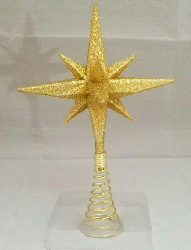 "Moravian Star Tree Topper Small Gold Christmas Acrylic 6"" Kurt Adler"
